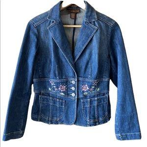 Retro embroidered denim jacket size 4 Bandolino